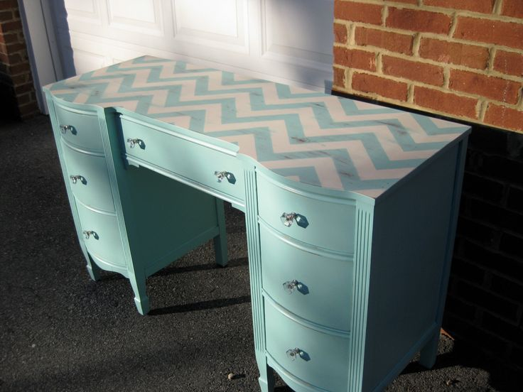 Turquoise Chevron Desk Vanity Bedside Table Foyer/Entry Table Light Distressing. $275.00, via Etsy.  I can do this!