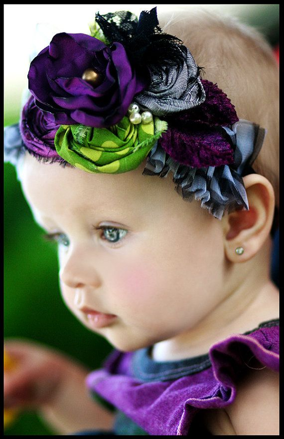 Lavender, purple & green floral baby headband