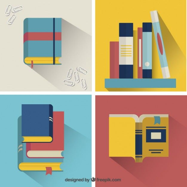 Set of Colorful Books in Flat Design Free Vector
