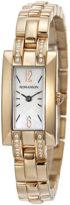 Romanson Women's RM8274QL1RM16B Swiss Quartz MoP Dial & Crystal Accented Watch