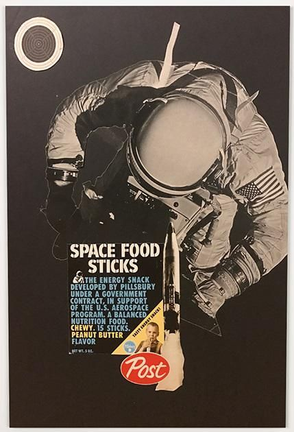 Space Sticks £225.00  By Phil Bedford   A3 (42 x29.7cms)   Analogue collage using vintage magazines and paper ephemera. Mounted on foam board