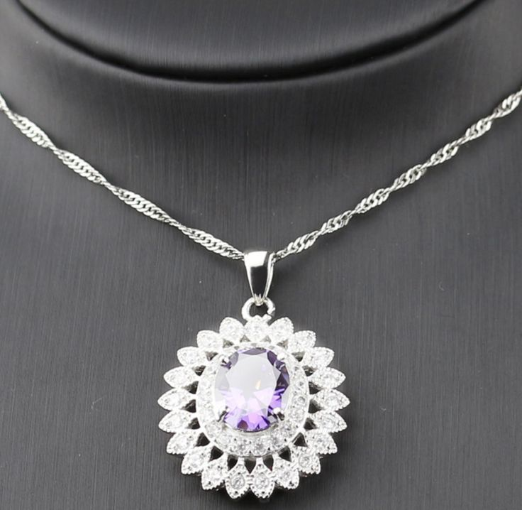 New Purple Crystal White zircon Silver colour Jewellery Sets For Women  Bracelets/Necklace/Earrings/Ring/PendantItem  Type: Jewellery Sets Fine or Fashion: Fash