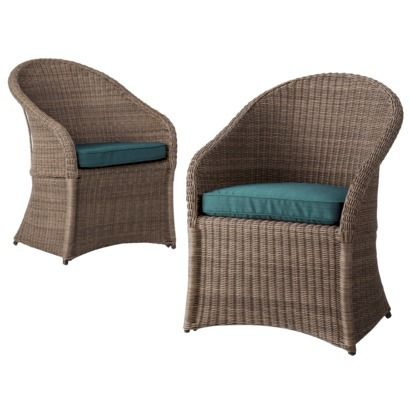 Threshold Holden 2 Piece Wicker Patio Dining Chair Set In Turquoise Available At Target