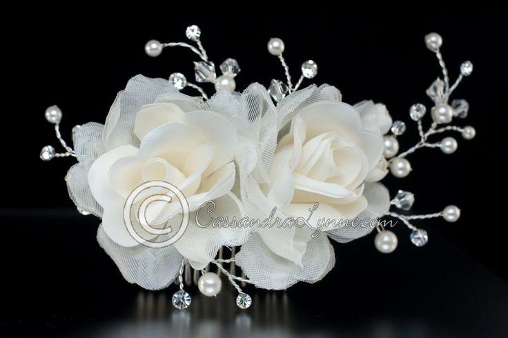 Wedding Comb of Fabric Flowers & Pearl Rhinestone Sprays