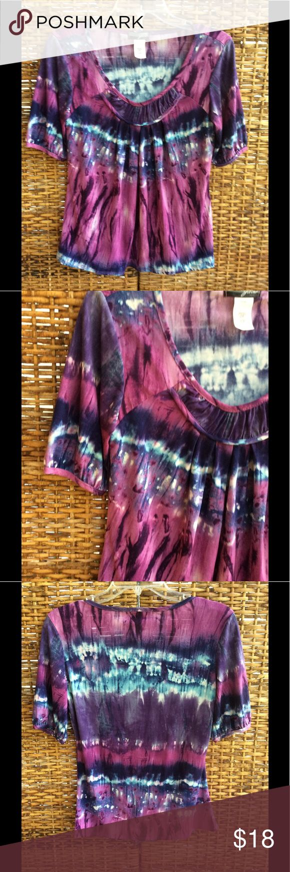 🌺BEAUTIFUL SMALL-- PETITE SHORT SLEEVED TOP. 🌺 VERY CUTE AND COMFORTABLE SHORT SLEEVED TOP. GREAT NECKLINE. KIND OF A TYE DYE LOOK THAT IS REALLY PRETTY. WEAR THIS WITH JEANS OR PANTS OR SHORTS OR SKIRT. MACHINE WASHABLE. YOU ARE GOING TO LOVE ❤️ WEARING THIS CUTE TOP. J. T. B.  PETITE Tops Blouses