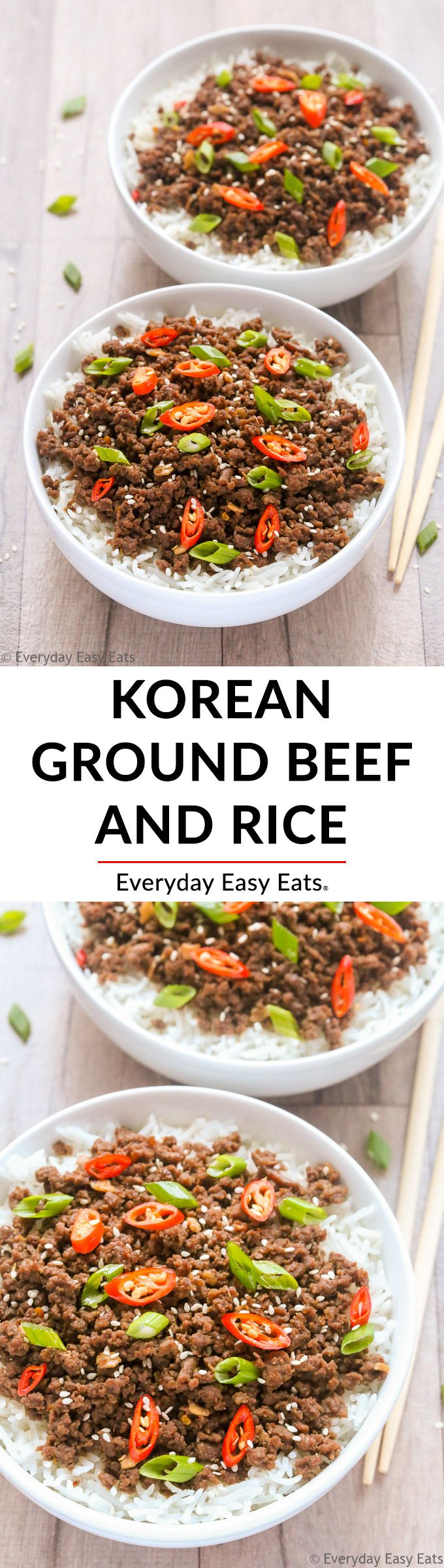 This Korean Ground Beef and Rice recipe is so tasty and easy to make! Ready in just 15 minutes! #korean #easyrecipe #dinner #recipe
