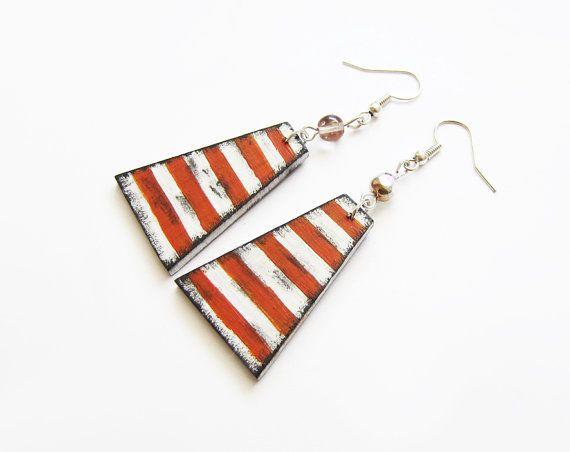 Retro wooden earrings earrings wood stripes by forEVAhairforks