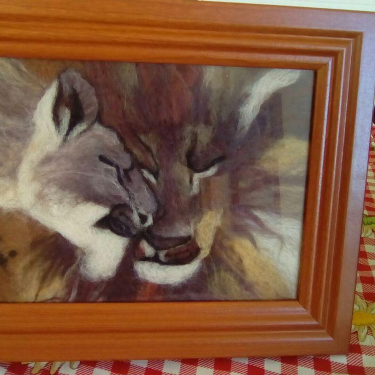 Pintura en fieltro leones
