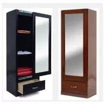 cajonera con espejo de madera en color chocolate