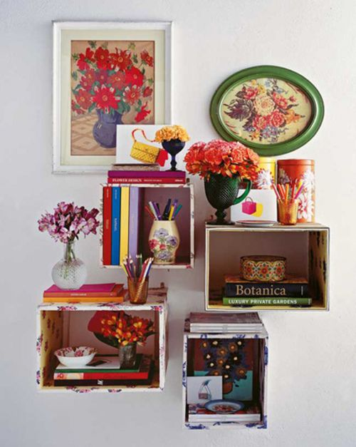 fabric covered cratesDecor, Ideas, Floating Shelves, Boxes Shelves, Colors, Book, Wooden Boxes, Wall Display, Crates