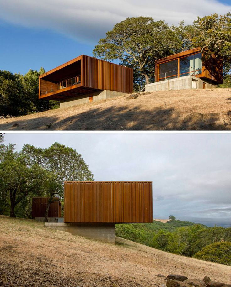 The weathering steel on the exterior of these two house structures that make up a single home that will continue to age and weather over time, gradually blending in more with the landscape.