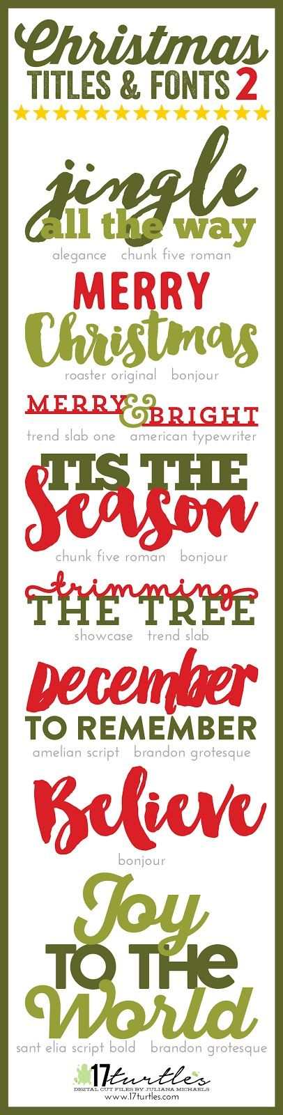 Christmas Titles and Fonts 2  by Juliana Michaels 17turtles.com                                                                                                                                                      More