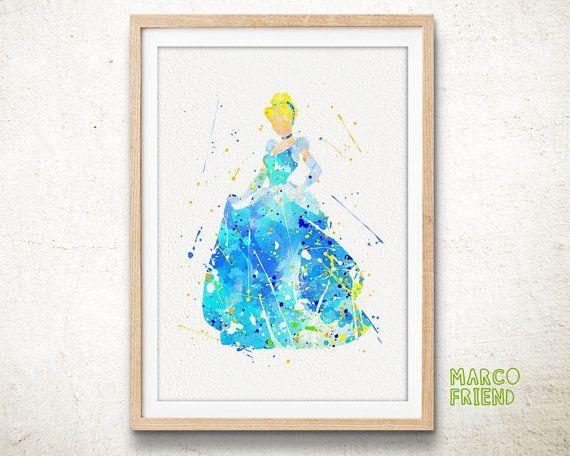 Princess Cinderella  Watercolor Art Print Home by MarcoFriend