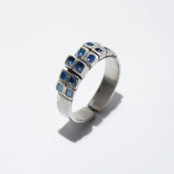 Blue squares enamel ring by JRajtar on Etsy