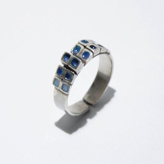 Blue squares enamel ring by JRajtar on Etsy