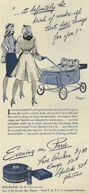 Evening in Paris cosmetics ad, 1946. #vintage #1940s #makeup #beauty #ads