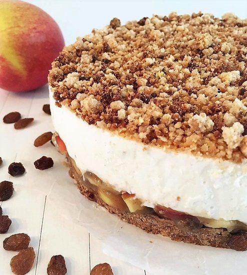 Just Apple Cheesecake, gezond, glutenvrij, genieten, appeltaart, lactosevrij, vegan, fit, food, pie, crumble, kruimels, kids, recept, cheesecake