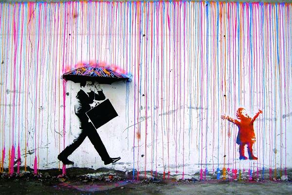 Banksy Framed Canvas Street  graffiti Urban  Art Print painting rainbow rain dog