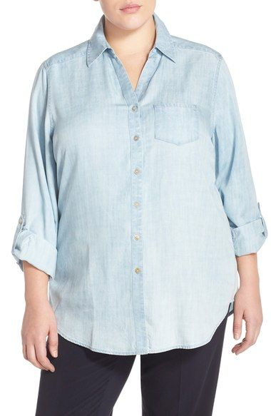 Foxcroft Tencel® Chambray Tunic Shirt (Plus Size) available at #Nordstrom