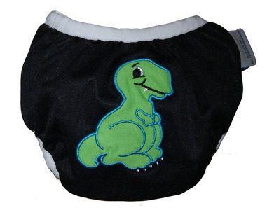 Zwemluier van het merk Monkey Doodlez. Kleur is zwart met een lieve #dinosaurus applicatie.  #baby #zwemluier