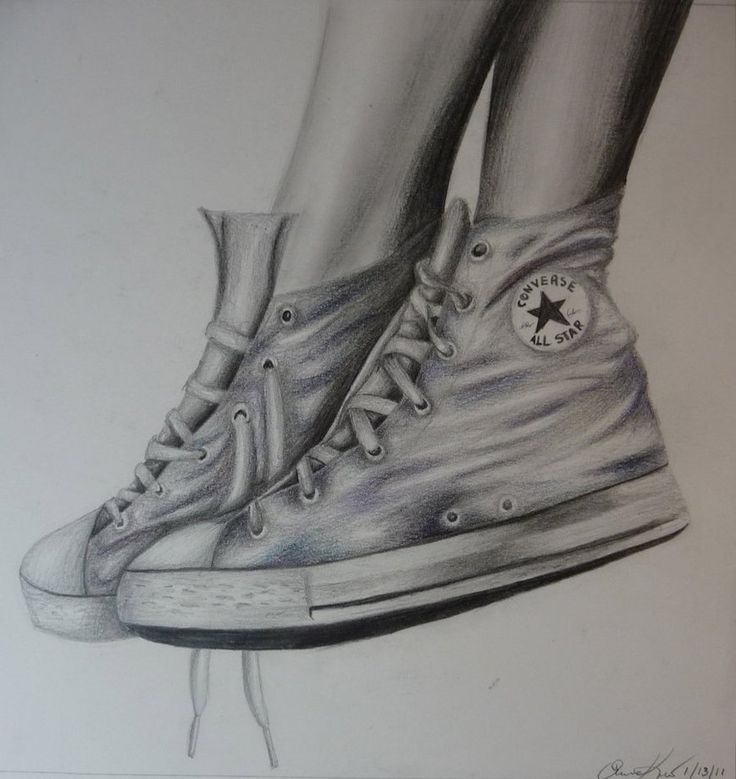 This is a pencil with spurts of color pencil (blue, purple, greenish tones) on a 14x17 bristol. Totally decided to be spontaneous and just go BAM! SHOES.