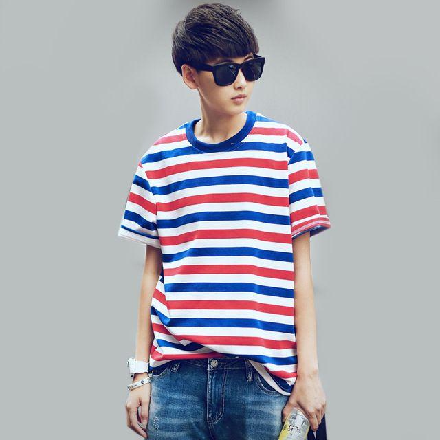 Mannen swag gestreepte print merk ontwerp korea preppy stijl t-shirt 2015 zomer man straat hiphop casual tees tops camisa masculina