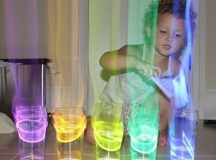 Glow Stick Xylophone: put glow sticks in cups of water and an aura comes off in the dark when you tap them!
