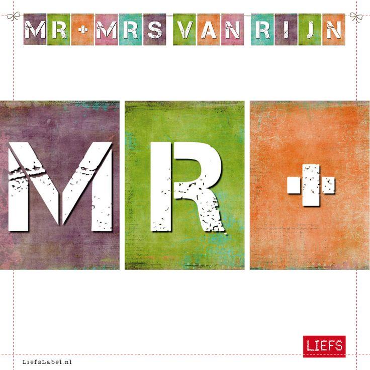 Mr & Mrs van Rijn ♡ Bruiloft ♡ Thema Kiki ♡ Maak ook je eigen slinger! www.LiefsLabel.nl