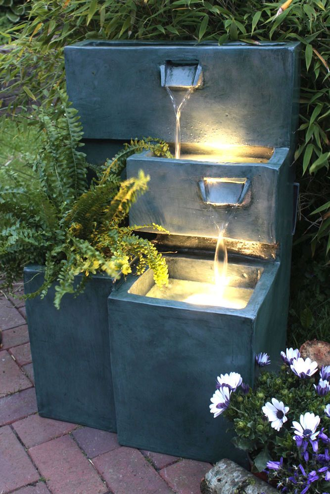 Springbrunnen Grada B-Ware Gartenbrunnen mit LED-Beleuchtung Terrassenbrunnen    eBay