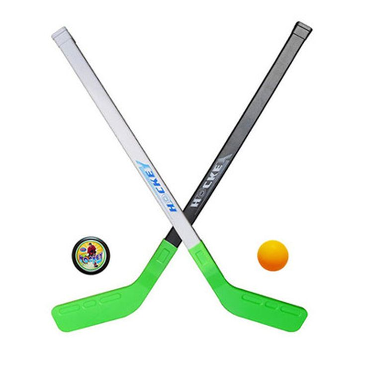 Hotest 4 pcs/sets Kids Winter Ice Hockey Stick Toy Tools Plastic 2 x Sticks 2 x Ball Winter Sports Toy For 3-6 Years Kid Gift