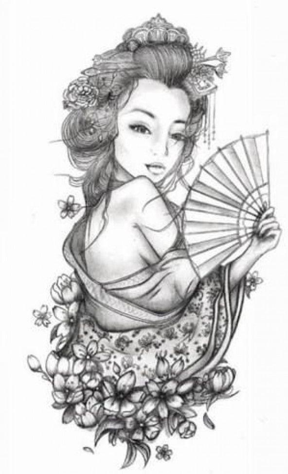 Gueixa Para Tattoo Desenhos Geishatattoos Geisha Tattoos