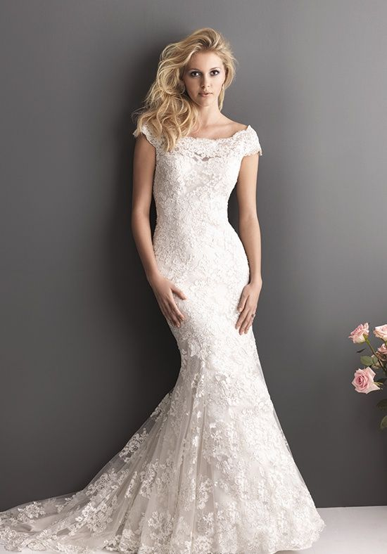 Lovely Slim fitted lace wedding gown with scoop neckline and off the shoulder cap sleeve