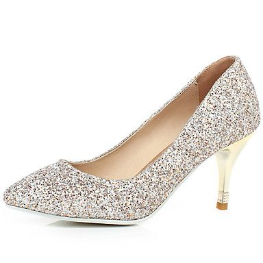 Women's Spring / Summer / Fall / Winter Pointed Toe Glitter Dress Stiletto Heel White / Gold - USD $ 29.74