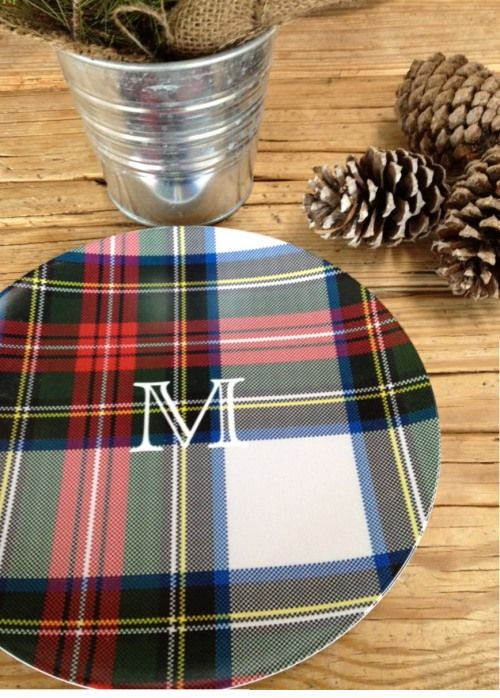 tartan monogrammed plates for Dad & 48 best plaid dishes images on Pinterest | Tartan plaid Chess and Frame