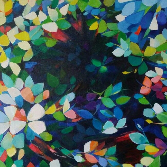 "Detail of ""flurry"" oil on canvas, 92cm square.  Jenni Stringleman"