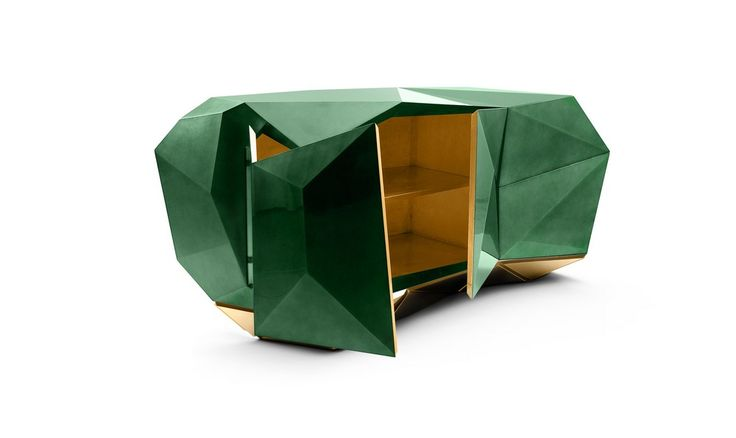 The Diamond Emerald sideboard is made from wood finished with a luxurious shade of translucent green emerald with high gloss varnish | www.bocadolobo.com #bocadolobo #luxuryfurniture #exclusivedesign #interiodesign #designideas