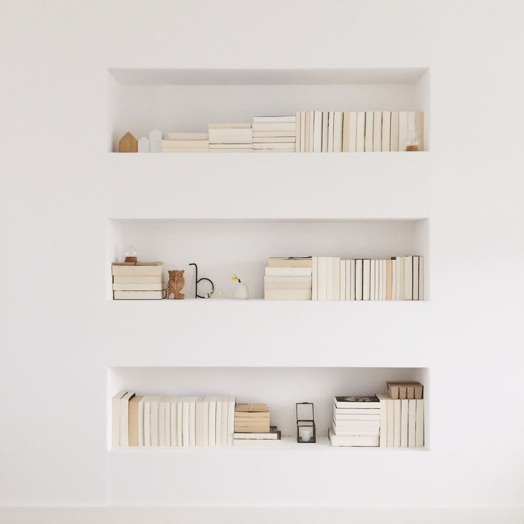 Recessed bookshelves between wall studs Great use