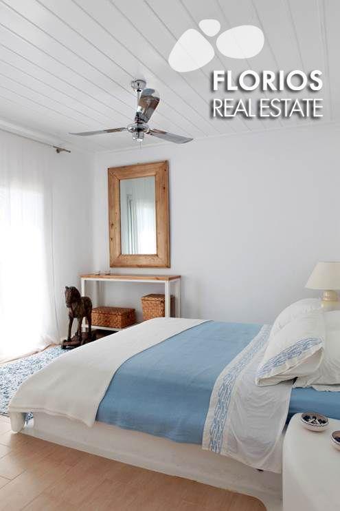 Elegant bedroom in an amazing Villa for Sale on Mykonos island, Greece. FL1026 http://www.florios.gr/en/mykonos-property/17.html