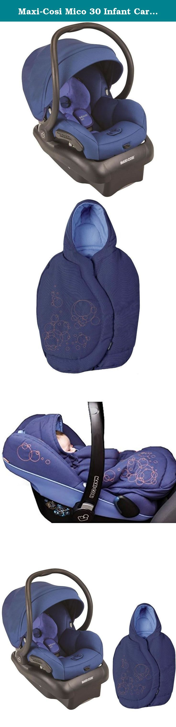 Maxi-Cosi Mico 30 Infant Car Seat With Infant Car Seat Footmuff (Vivid Blue/Lapis Blue). Happy travels are ahead with the Maxi-Cosi Mico 30. The lightest infant car seat in its class, the ergonomic handle provides extra comfort for parents while carrying this lightweight seat. Transferring from the stay-in-car base to a Maxi-Cosi, Quinny, or other premium stroller is a breeze, making the Mico 30 infant seat a great solution for parents looking for a complete travel system they can use…