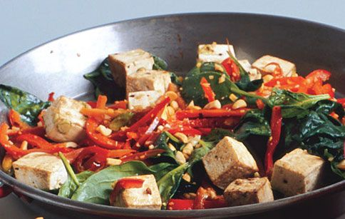 Spicy Thai Tofu with Red Bell Peppers and Peanuts: Recipe: bonappetit.com