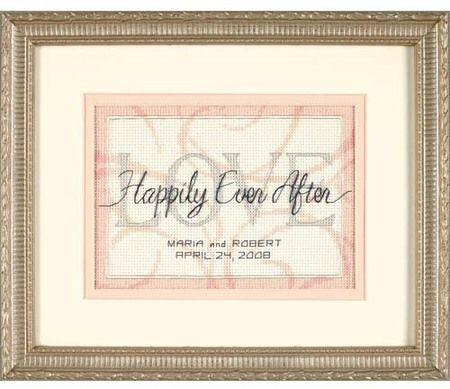 dimensions united hearts wedding record cross stitch kit simple yet elegant this is the perfect design to commemorate the union
