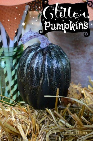Glitter-Pumpkins ...add a little star dust to your Halloween! #halloweendecorations #pumpkinprojects #glitterprojects