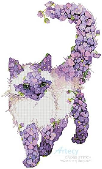 Lilac Cat  - cross stitch pattern designed by Tereena Clarke. Category: Cats.