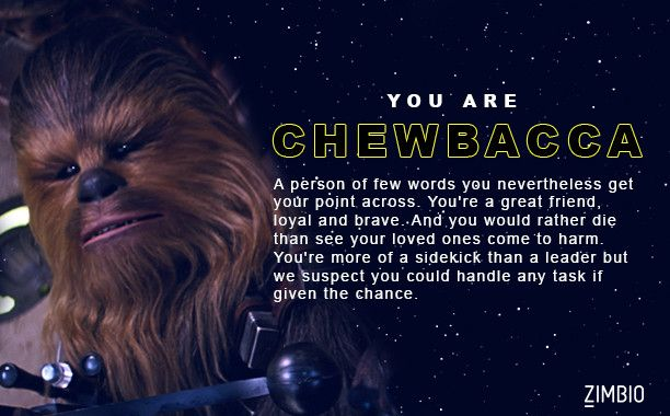 I took Zimbio's 'Star Wars: The Force Awakens' character quiz and I got Chewbacca. Who are you? - Quiz