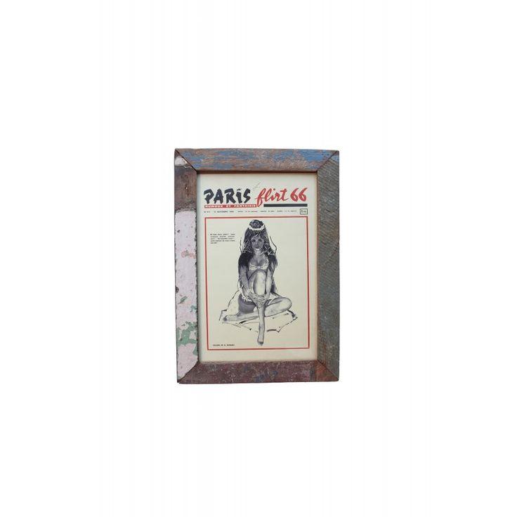 Cuadro vintage revista flirt, de madera de teca, mueble vintage, decoración vintage