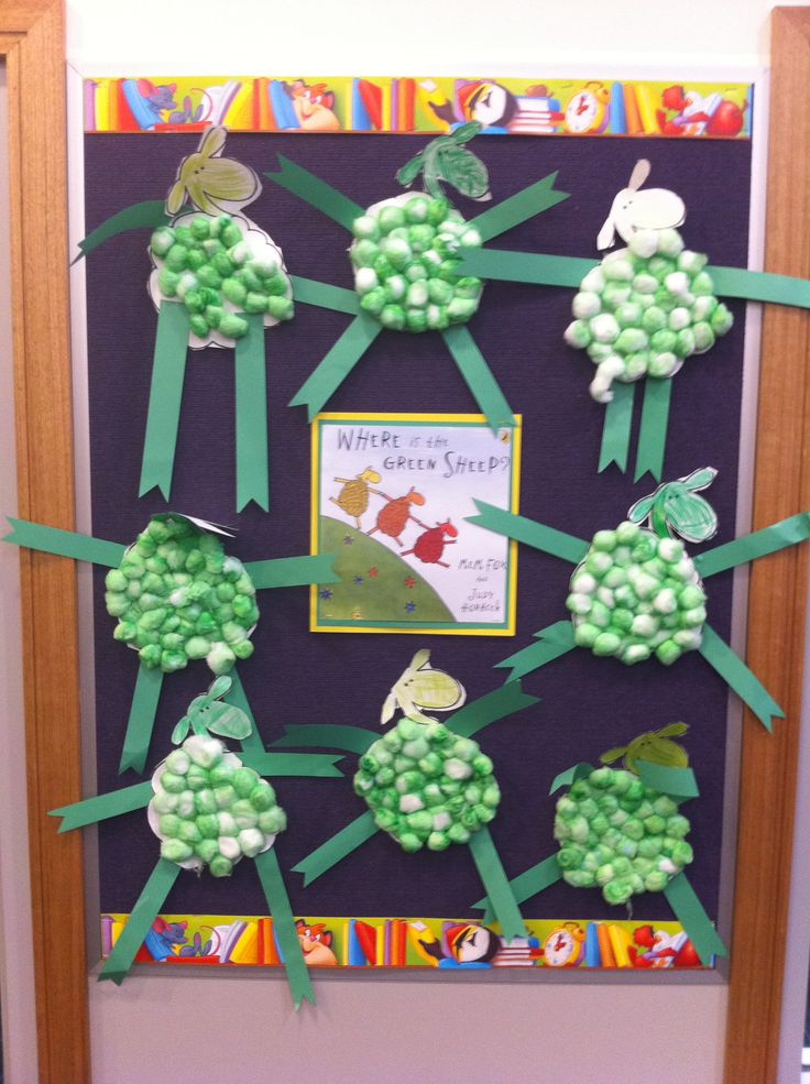 Where is the Green Sheep? green sheep using cotton wool