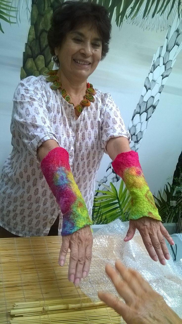 Jiulietta's colourful wrist adornments - nuno felt workshop July 15