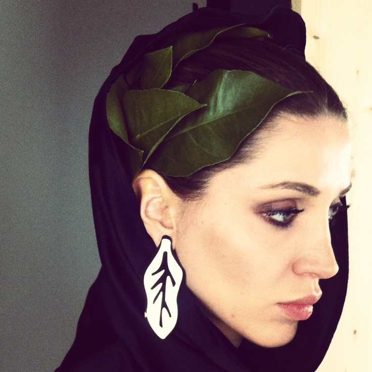 Cecilia Rosati for Atelier Vittorio Camaiani SS13 steel leaf earrings