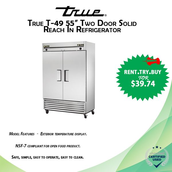 True T 49 55 Two Door Solid Reach In Refrigerator Vortex Restaurant Equipment Food Equipment Restaurant Equipment Refrigerator