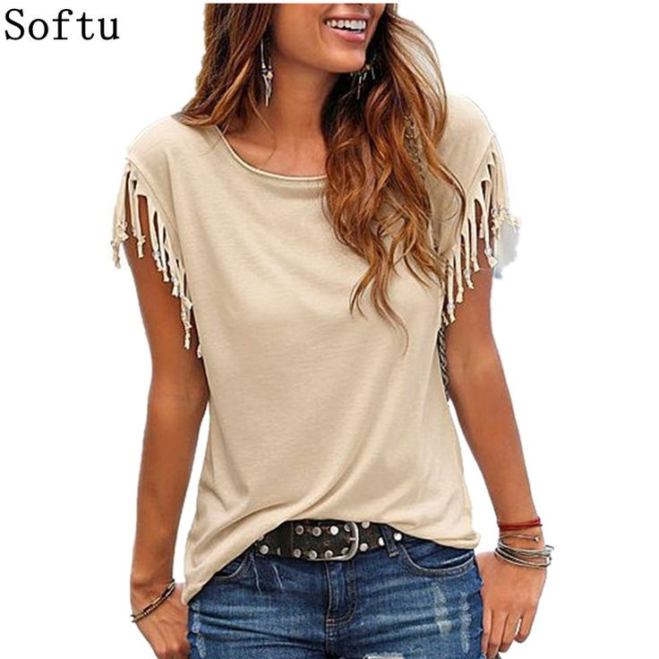 Cheap ladies clothing, Buy Quality ladies clothing fashion directly from China blouse fashion Suppliers: Softu Newest Women Fashion Tassel Casual Top Blouse Solid O Neck Short Sleeve Loose Shirts European Style Lady Clothing